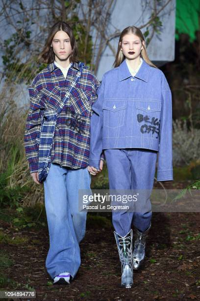 Models walk the runway during OffWhite Menswear Fall/Winter 20192020 show as part of Paris Fashion Week on January 16 2019 in Paris France
