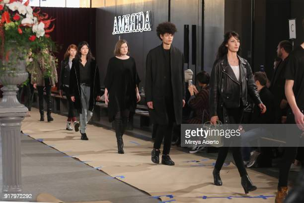 Models walk the runway during rehearsal at the Calvin Luo fashion show during New York Fashion Week on February 13 2018 in New York City
