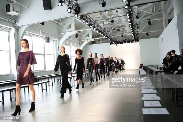 Models walk the runway during rehearsal before the Ane Amour fashion show during New York Fashion Week at Pier 59 on February 9 2017 in New York City