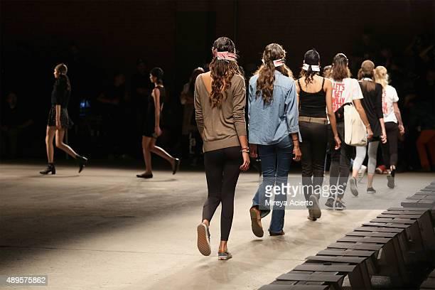 Models walk the runway during rehearsal before the Chiara Boni La Petite Robe fashion show during Spring 2016 New York Fashion Week at Art Beam on...