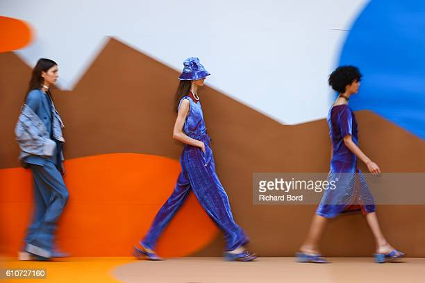 Models walk the runway during the Aalto show as part of the Paris Fashion Week Womenswear Spring/Summer 2017 on September 27 2016 in Paris France