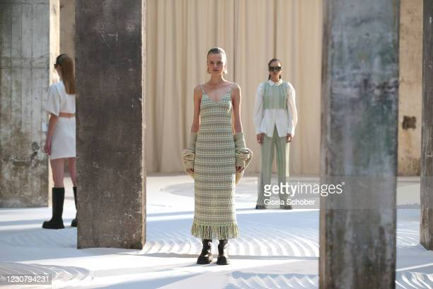 Models walk the runway during the About You Fashion Week, AYFW, LeGer by LenaGercke show production at Kraftwerk on January 24, 2021 in Berlin,...