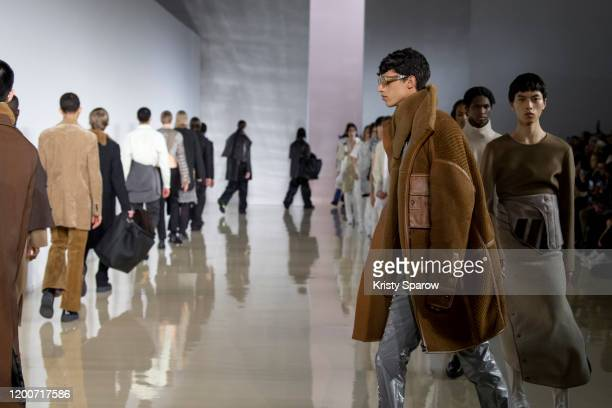 Models walk the runway during the Acne Studios Menswear Fall/Winter 2020-2021 show as part of Paris Fashion Week on January 19, 2020 in Paris, France.