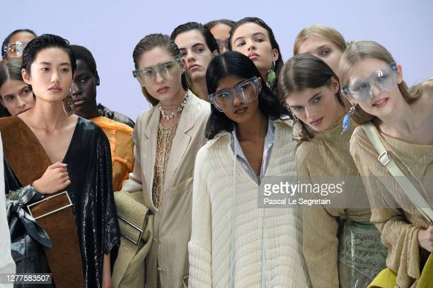 Models walk the runway during the Acne Studios Womenswear Spring/Summer 2021 show as part of Paris Fashion Week on September 30, 2020 in Paris,...