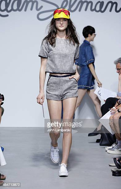Models walk the runway during the Adam Selman Presentation MercedesBenz Fashion Week Spring 2015 at Algus Greenspon Gallery on September 5 2014 in...