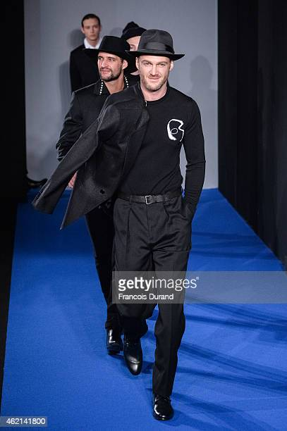 Models walk the runway during the Agnes B. Menswear Fall/Winter 2015-2016 show as part of Paris Fashion Week>> on January 25, 2015 in Paris, France.