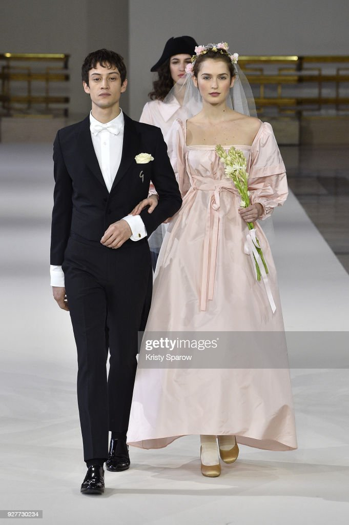 Models walk the runway during the Agnes B show as part of Paris Fashion Week Womenswear Fall/Winter 2018/2019 on March 5, 2018 in Paris, France.