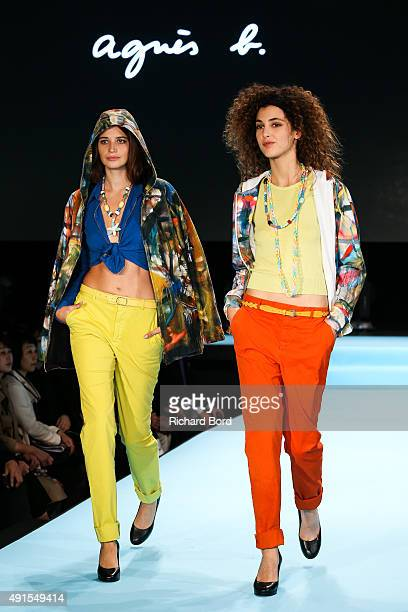 Models walk the runway during the Agnes B show as part of the Paris Fashion Week Womenswear Spring/Summer 2016 at Palais de Tokyo on October 6 2015...