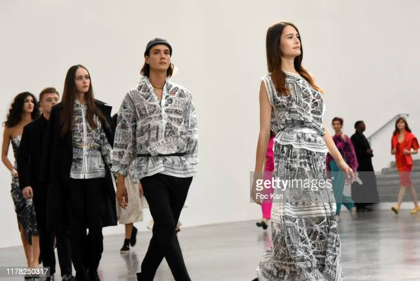 Models walk the runway during the Agnes B. Womenswear Spring/Summer 2020 show as part of Paris Fashion Week on September 30, 2019 in Paris, France.
