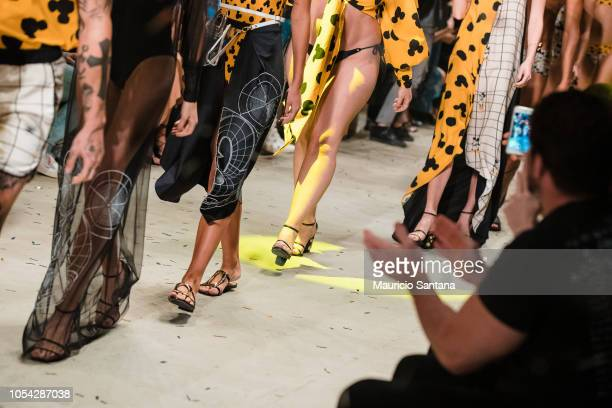 Models walk the runway during the Agua de Coco show during Sao Paulo Fashion Week N46 SPFW Winter 2019 at ARCA on October 26 2018 in Sao Paulo Sao...