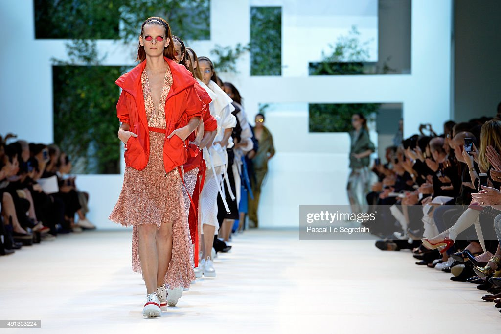 Models walk the runway during the Akris show as part of the Paris Fashion Week Womenswear Spring/Summer 2016 on October 4, 2015 in Paris, France.