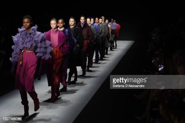 Models walk the runway during the Alberta Ferretti fashion show as part of Milan Fashion Week Fall/Winter 2020-2021 on February 19, 2020 in Milan,...