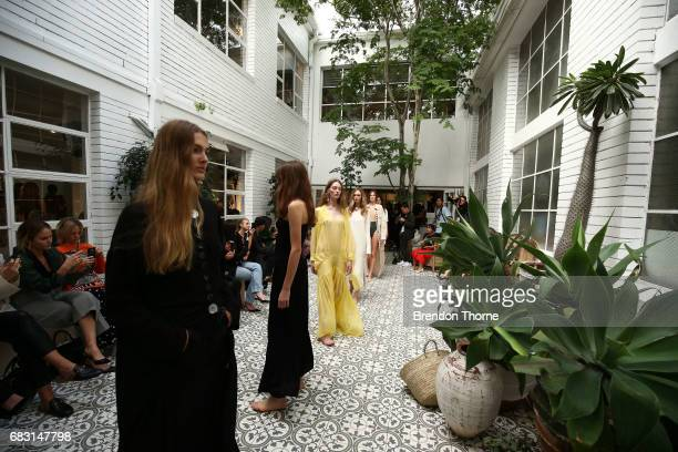 Models walk the runway during the Albus Lumen show at MercedesBenz Fashion Week Resort 18 Collections at La Porte Deux on May 15 2017 in Sydney...