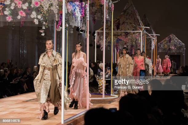 Models walk the runway during the Alexander McQueen show as part of the Paris Fashion Week Womenswear Spring/Summer 2018 on October 2 2017 in Paris...