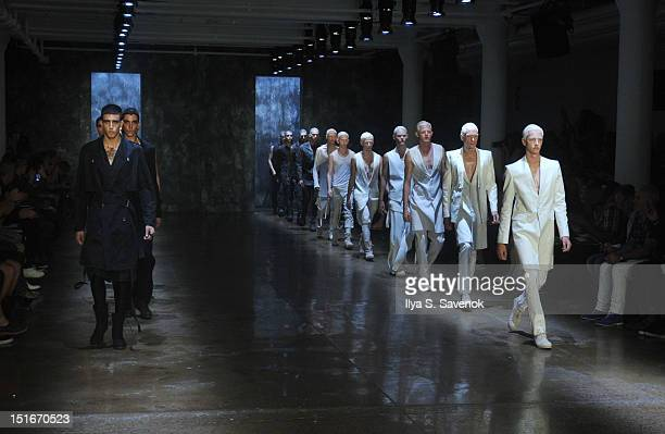 Models walk the runway during the Alexandre Plokhov show during Spring 2013 Mercedes-Benz Fashion Week at Milk Studios on September 9, 2012 in New...
