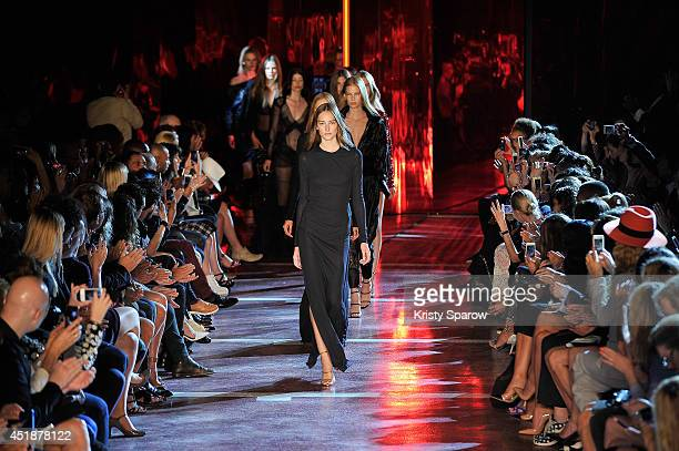 Models walk the runway during the Alexandre Vauthier show as part of Paris Fashion Week Haute Couture Fall/Winter 20142015 at Maison de la Radio on...