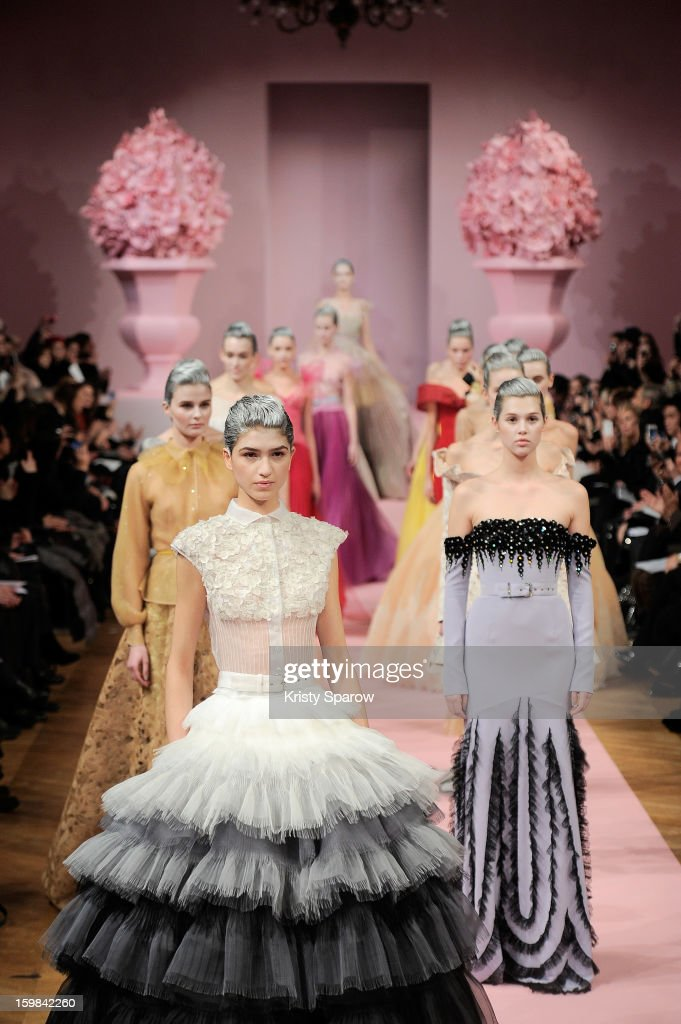Models walk the runway during the Alexis Mabille Spring/Summer 2013 Haute-Couture show as part of Paris Fashion Week at Mairie du 4e on January 21, 2013 in Paris, France.