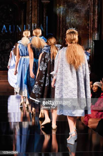 Models walk the runway during the ALYCESAUNDRAL show At New York Fashion Week Powered By Art Hearts Fashion at The Angel Orensanz Foundation on...