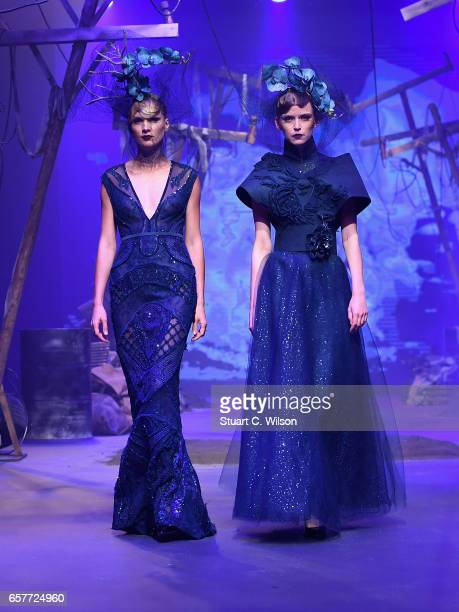 Models walk the runway during the Amato show at Fashion Forward March 2017 held at the Dubai Design District on March 25 2017 in Dubai United Arab...