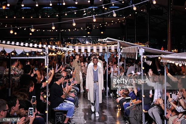 Models walk the runway during the AMI Alexandre Mattiussi Menswear Spring/Summer 2016 show as part of Paris Fashion Week on June 27 2015 in Paris...