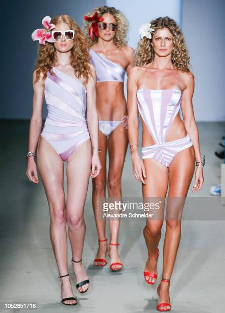 Models walk the runway during the Amir Slama fashion show during Sao Paulo Fashion Week N46 Winter 2019 at Arca on October 23 2018 in Sao Paulo Brazil
