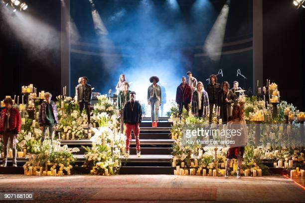 Models walk the runway during the Amiri Presentation Menswear Fall/Winter 20182019 show as part of Paris Fashion Week on January 19 2018 in Paris...