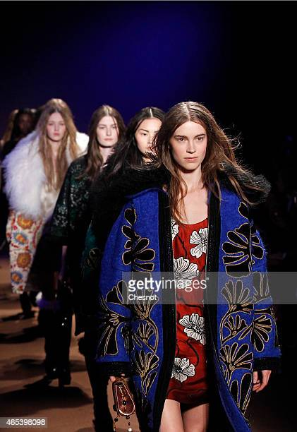 Models walk the runway during the Andrew GN show as part of the Paris Fashion Week Womenswear Fall/Winter 2015/2016 on March 6, 2015 in Paris, France.