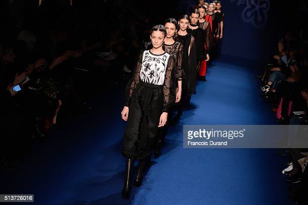 Models walk the runway during the Andrew GN show as part of the Paris Fashion Week Womenswear Fall/Winter 2016/2017 on March 4 2016 in Paris France