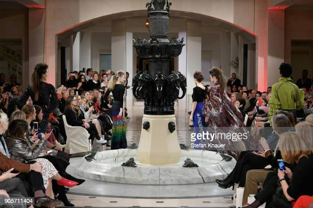 Models walk the runway during the Anja Gockel fashion show at Hotel Adlon on January 16 2018 in Berlin Germany