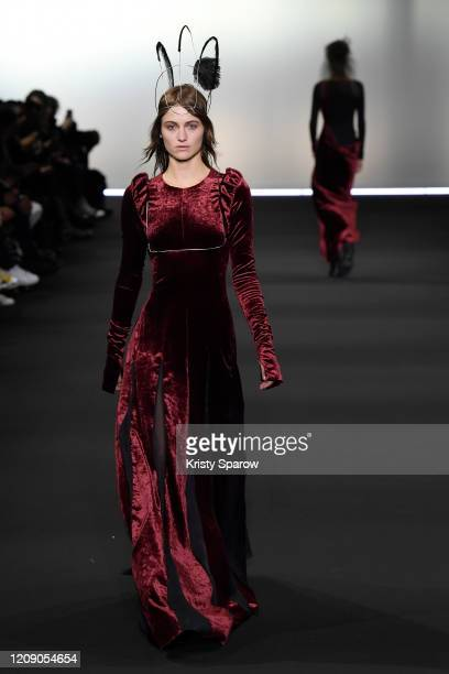 A Models walk the runway during the Ann Demeulemeester show as part of Paris Fashion Week Womenswear Fall/Winter 2020/2021 on February 27 2020 in...