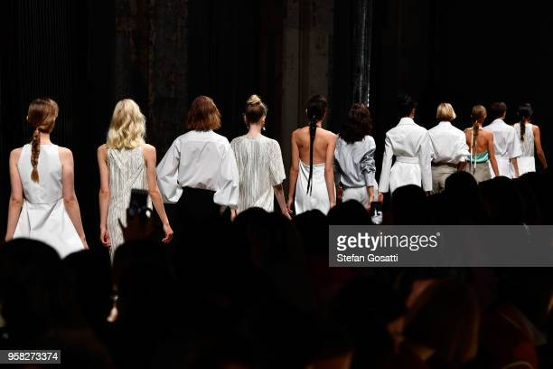Models walk the runway during the Anna Quan show at MercedesBenz Fashion Week Resort 19 Collections at Carriageworks on May 14 2018 in Sydney...