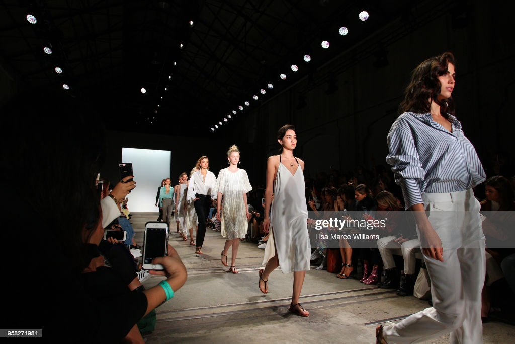 Models walk the runway during the Anna Quan show at Mercedes-Benz Fashion Week Resort 19 Collections at Carriageworks on May 14, 2018 in Sydney, Australia.