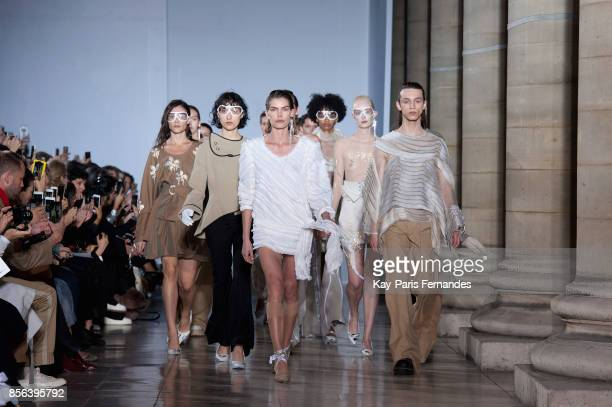 Models walk the runway during the Anne Sofie Madsen show as part of the Paris Fashion Week Womenswear Spring/Summer 2018 on October 1 2017 in Paris...