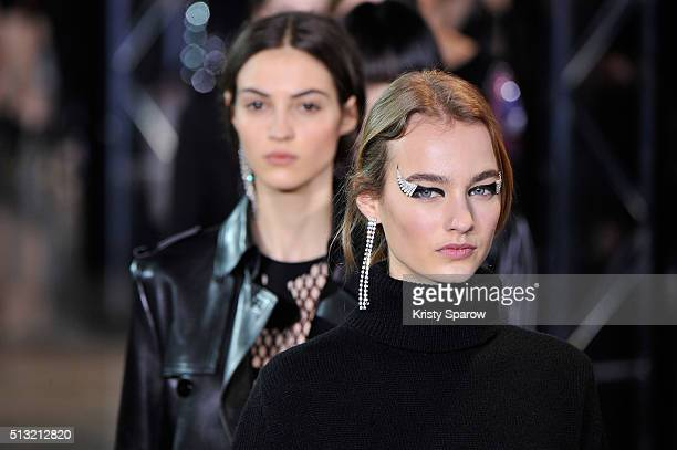 Models walk the runway during the Anthony Vaccarello show as part of Paris Fashion Week Womenswear Fall/Winter 2016/2017 on March 1 2016 in Paris...