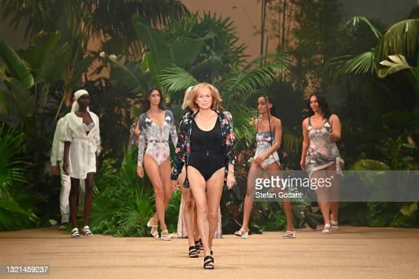 Models walk the runway during the Aqua Blu show during Afterpay Australian Fashion Week 2021 Resort '22 Collections at Carriageworks on June 03, 2021...