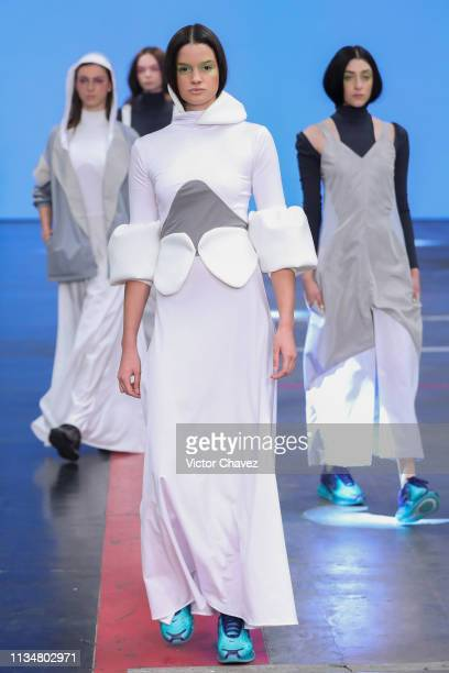 Models walk the runway during the Arkatha fashion show as part of the MercedesBenz Fashion Week Mexico Fall/Winter 2019 Day 3 at Fronton Mexico on...