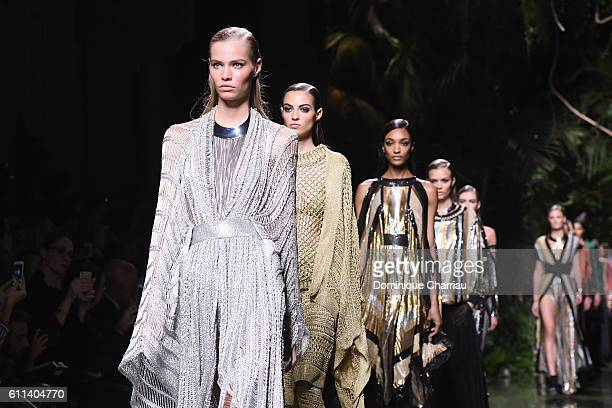Models walk the runway during the Balmain show as part of the Paris Fashion Week Womenswear Spring/Summer 2017 on September 29 2016 in Paris France