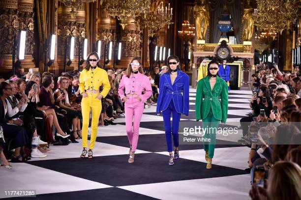 Models walk the runway during the Balmain Womenswear Spring/Summer 2020 show as part of Paris Fashion Week on September 27 2019 in Paris France