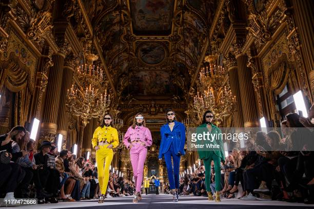 Models walk the runway during the Balmain Womenswear Spring/Summer 2020 show as part of Paris Fashion Week on September 27, 2019 in Paris, France.