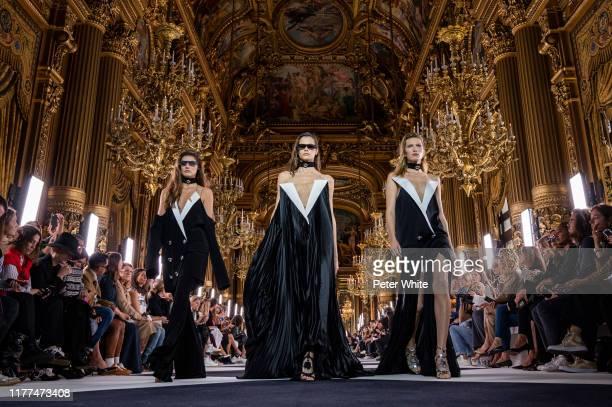 Models walk the runway during the Balmain Womenswear Spring/Summer 2020 show as part of Paris Fashion Week on September 27, 2019 in Paris, France.
