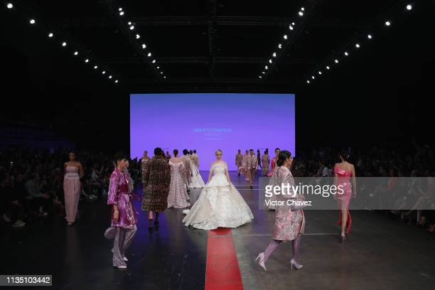 Models walk the runway during the Benito Santos fashion show as part of the MercedesBenz Fashion Week Mexico Fall/Winter 2019 Day 5 at Fronton Mexico...