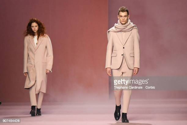 Models walk the runway during the Berluti Menswear Fall/Winter 20182019 show as part of Paris Fashion Week January 19 2018 in Paris France