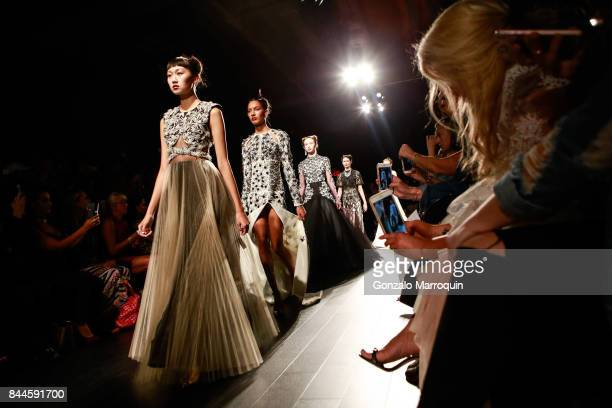 Models walk the runway during the Bibhu Mohapatra fashion show with Narayan Jewellers in association with ForeverMark Diamonds at Skylight Clarkson...