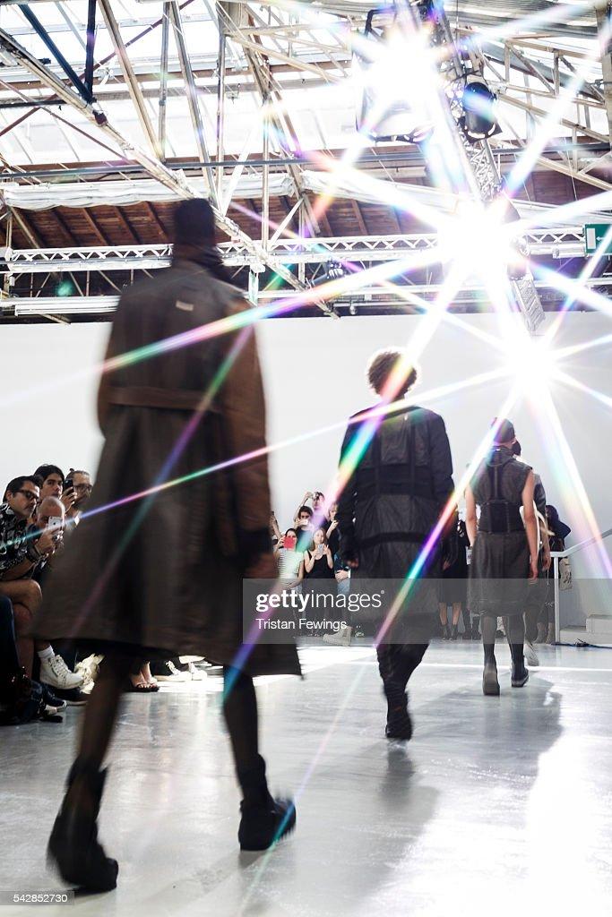Models walk the runway during the Boris Bidjan Saberi Menswear Spring/Summer 2017 show as part of Paris Fashion Week on June 23, 2016 in Paris, France.