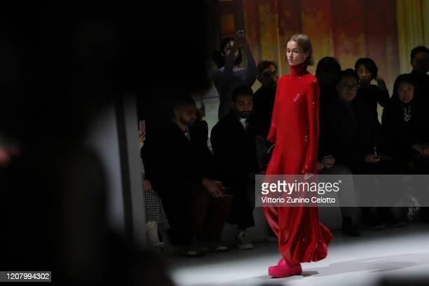 Models walk the runway during the Bottega Veneta fashion show as part of Milan Fashion Week Fall/Winter 2020-2021 on February 22, 2020 in Milan,...