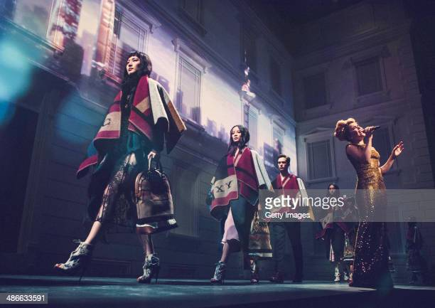 Models walk the runway during the Burberry brings London to Shanghai event on April 24 2014 in Shanghai China