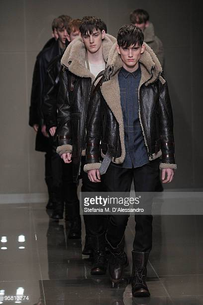 Models walk the runway during the Burberry Prorsum Milan Menswear Autumn/Winter 2010 show on January 16 2010 in Milan Italy