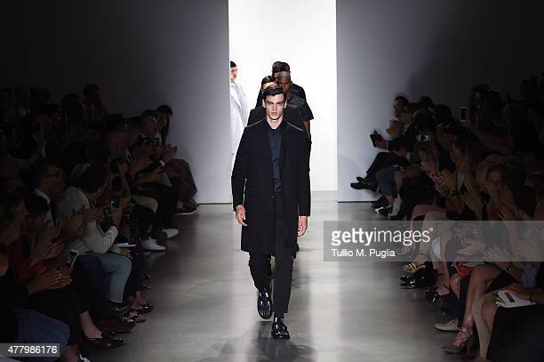 Models walk the runway during the Calvin Klein Collection fashion show as part of Milan Men's Fashion Week Spring/Summer 2016 on June 21, 2015 in...