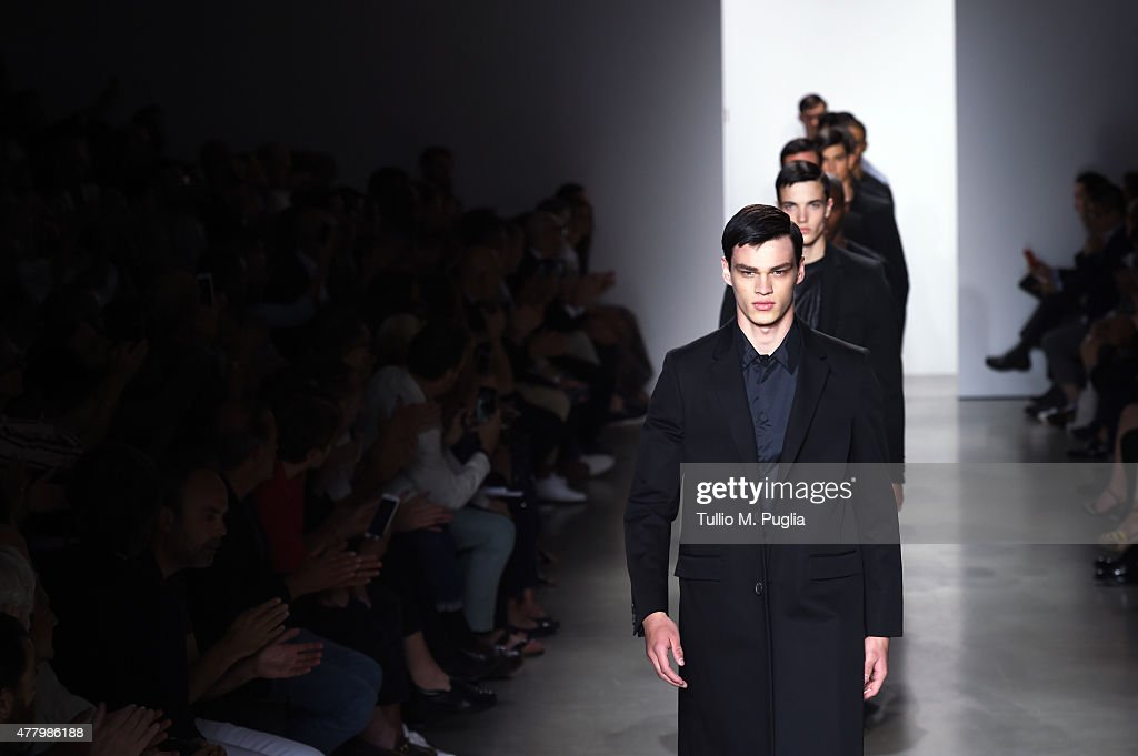 Models walk the runway during the Calvin Klein Collection fashion show as part of Milan Men's Fashion Week Spring/Summer 2016 on June 21, 2015 in Milan, Italy.