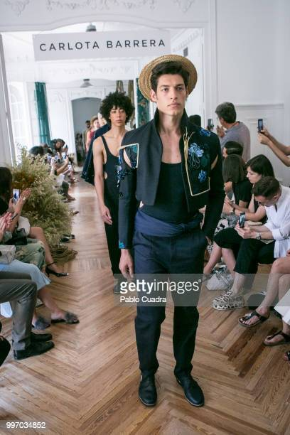 Models walk the runway during the Carlota Barrera show at Mercedes Benz Fashion Week Madrid Spring/ Summer 2019 on July 12 2018 in Madrid Spain